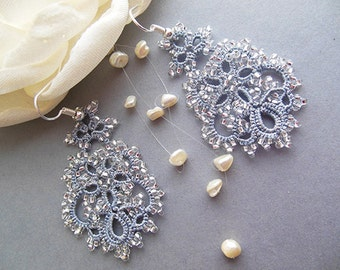 Grey tatting earrings, lace tatted earrings, bridal earrings, tatting lace jewelry, dangle earrings,Valentines gifts for her, Gift ideas