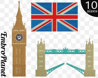 United Kingdom - Designs for Embroidery Machine Instant Download Commercial Use digital file 4x4 5x7 hoop icon symbol sign Big Ben flag 698e