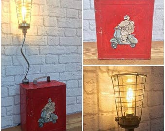 Industrial Lighting, Petrol Can Lamp, Fathers Day Gift, Michellin Man, Man Cave, Fathers Day, Vintage Petrol Can, Mechanic Gift,