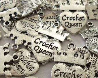 """Heart and Crown """"Crochet Queen"""" Silver Tone Metal Charms - Pack of Five - H288"""