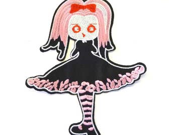 Emo Girl with Black Dress and Pink Hair Iron on Patch - H386
