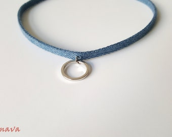 Choker collar necklace denim ring Silver Blue