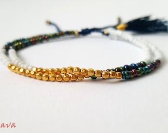 Bracelet BOHO tassel gold white blue