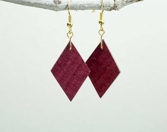 diamond wood earrings made from Purple Heart wood