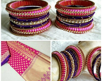 Silk Thread Bangles ~ PINK, PURPLE & GOLD  - A set of 22 Handmade Silk Thread Woven Bangles ~ Ethnic Indian Accessory ~ Favor/Return Gifts