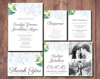Hydrangea Wedding Invite, Hydrangea Wedding Invitation Suite, Blue Floral Wedding Invitation, Printable Wedding Invitation, Save the Date
