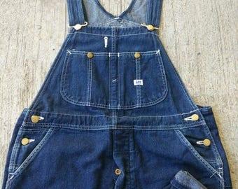 RARE Vintage Lee Sanforized Denim Blue Jeans Overalls Size 34X33