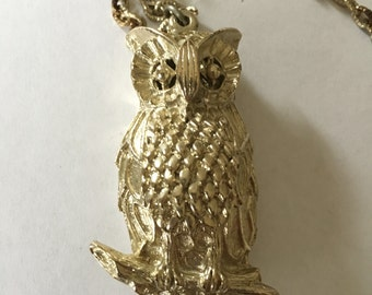 Owl necklace signed