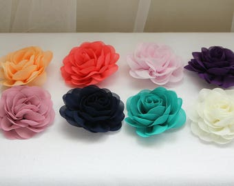 Rose hair clip, flower hair clip, chiffon flower, flower hair grip, flower girl hair grip, bridal hair grip, chiffon rose, bridesmaid hair
