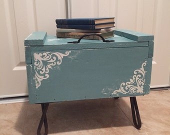 Wooden Storage Ottoman, Up Cycled From Vintage Industrial Shipping Crate,  Steel Hairpin Legs