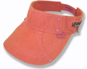 Hothead Womens Mens Wide Brim Custom Sun Visor Hat in Orange Biowash