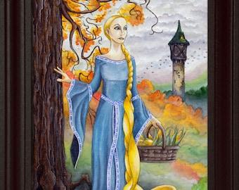 Rapunzel (8x10), Fairytale artwork, Watercolor print, Autumn nature, Fairytale art print, Fantasy art, Disney princess, Blue dress, Gold