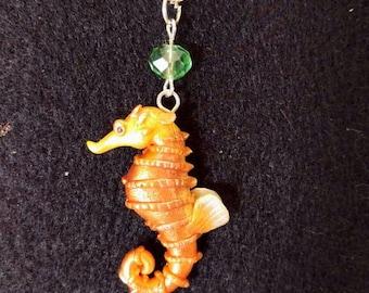 Seahorse necklace, seahorse pendant, seahorse jewelry. Sea animals.seahorse