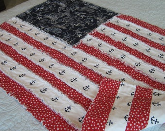 Flag Rag Quilt / Flag Wall Hanging / Red White Blue Rag Quilt