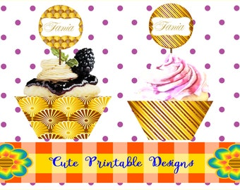 Printable Cupcake Toppers Customizable, Printable Cupcake Wrapper, Birthday Party, Printable Típicas, CUPCAKETOPP-PER-66