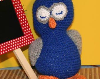 Hand crocheted blue owl
