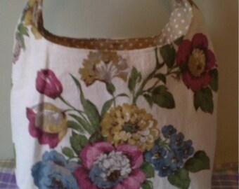 Barkcloth vintage fabric bag