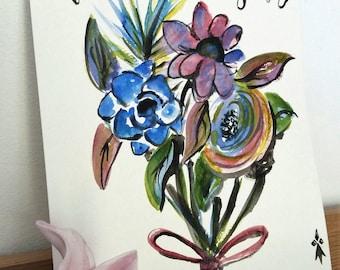 Aquarelle bouquet de fleurs