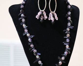 Metallic Black Stone with pink beads