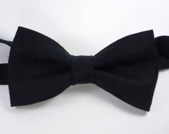 Black Linen bow tie, Black bow tie, Black tie, bow ties for men, bow ties for wedding, boys bow ties, groomsmen bow tie