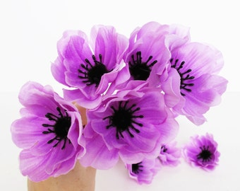 """Lot of Anemones 35 Artificial Poppy Anemone Silk Flowers Purple Black center 2.4"""" Floral Hair Accessories Flower Supplies Faux Fabric"""