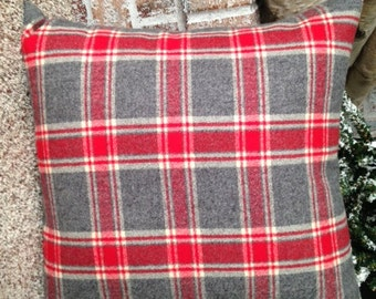 """18"""" x 18"""" Throw Pillow Cover, Warm Flannel for Cool Weather - Gray, Red, Cream Plaid"""