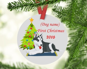 Husky's First Christmas Ornament - Husky Ornament - Dogs First Christmas Ornament - Husky