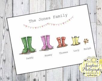 Wellie Family Print A4