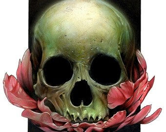 Skull and Flowers A3 Giclee Print
