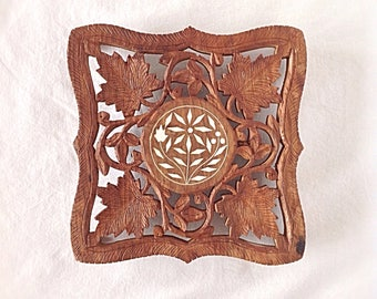 Vintage Wooden Carved Trivet With Inlay