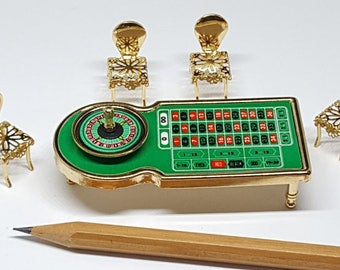 Set Brass Casino table and Chair for Dollhouse Miniature