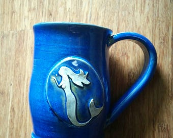 Handmade ceramic mug for coffee or tea, blue mermaid mug, large 18 ounce,  #127