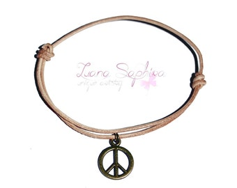 Leather Bracelet Brown peace pendant