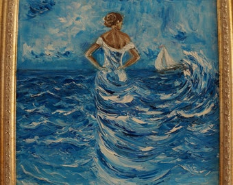 Oil sea painting,Woman sea oil,original art,sea painting,free shipping,romantic woman, sea dress,wall decor