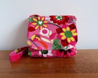 Children's Messenger Bag, Kids Messenger Bag, Girls Cross Body Bag, Pink Floral Print Handbag, Fabric Purse