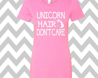 Unicorn Hair Don't Care Ladies T-shirt Summer Tee Funny Workout Shirt Gym Shirt Funny Unicorn Shirt Cute Gym Shirt Gym Tee Unicorn Lover