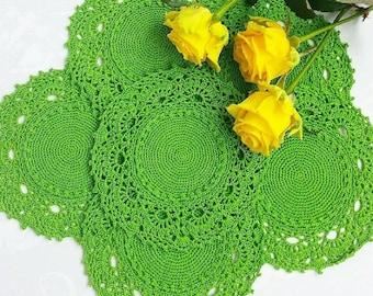 Set of six doilies 19-20cm crocheted cotton