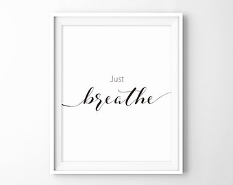 Just Breathe Minimalist Typography Art Yoga Wall Pilates Relaxation Gifts