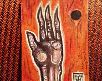 Zombie Hand ACEO original artist trading card drawing, undead corpse hand atc by TM