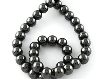 10 hematites beads magnetic 8mm round grade A black PH201603