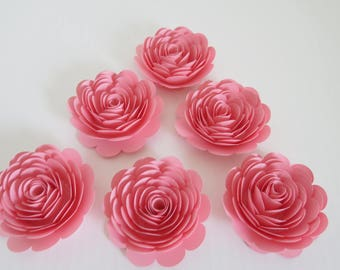 """Pink Roses, 3"""" Paper Flowers, Set of 6, Baby Shower Decorations, Wedding Place Card Holders, Bridal Shower Decor, Baby Nursery Wall Art"""