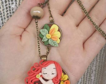 Fimo/polymer clay necklace red spring spring girl little girl red necklace