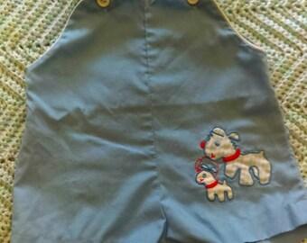 Adorable doggie & puppy infant overalls, Size newborn, vintage playsuit