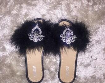 Black Crystal Feather Slides