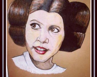 Princess Leia Art Print A5