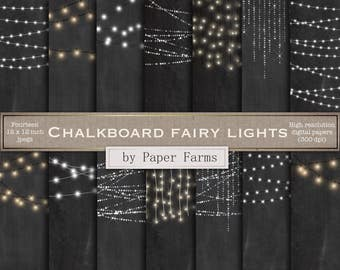 Chalkboard fairy lights, fairy light digital paper, strings of light, light strings, chalkboard background, scrapbook paper, DOWNLOAD