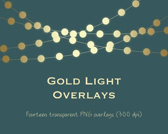 Gold light clipart, gold string lights clipart, gold light overlays, gold bokeh, gold fairy lights, metallic lights, metallic bokeh