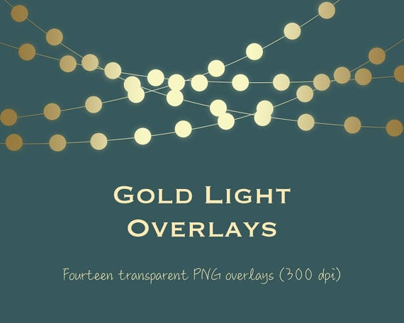 Gold Light Clipart String Lights Overlays Bokeh Fairy Metallic DOWNLOAD