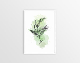 A4, Willow, Wall art, Decoration, Home decor, Print, Mural Art, watercolor, botanical