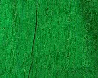 Green Dupion Raw Silk Fabric